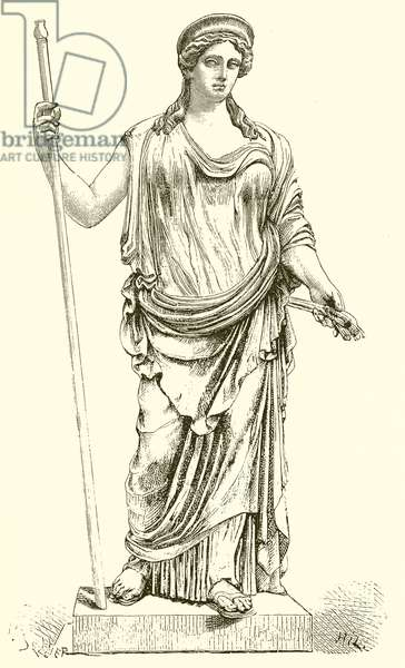 Ceres found at Ostia in 1856. (Museum of the Vatican) (engraving)