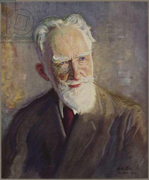 Portrait of George Bernard Shaw (colour litho)