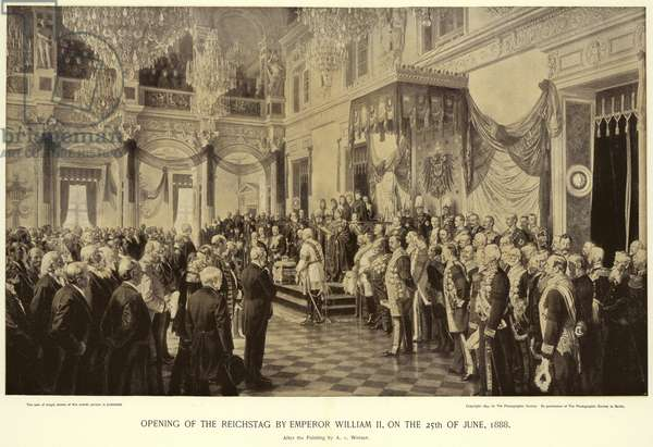 Opening of the Reichstag by Emperor William II (litho)