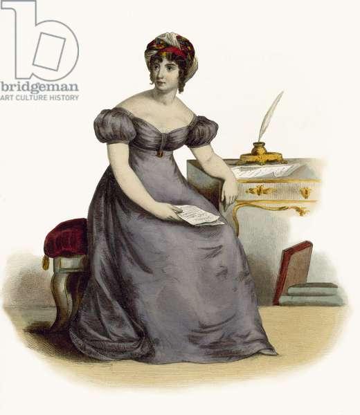 Madame de Stael (coloured engraving)