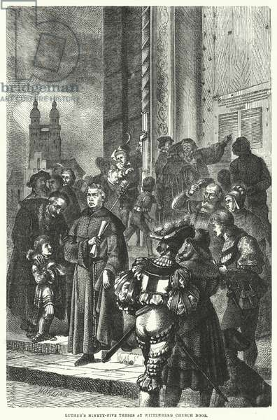 Luther's ninety-five theses at Wittenberg Church door (engraving)