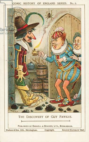 The discovery of Guy Fawkes in the cellars of the Houses of Parliament, Westminster, 1605 (chromolitho)