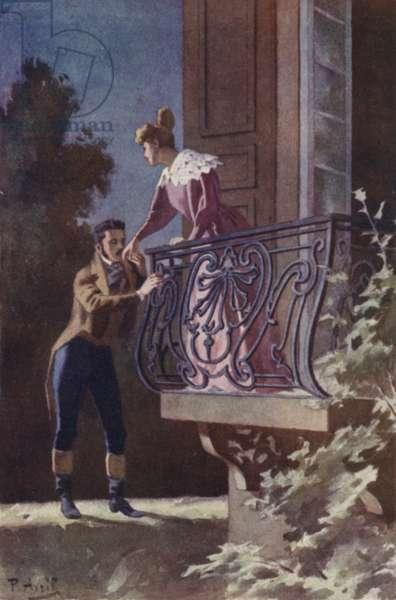 I found him standing there, his hand resting on a corner of my balcony (colour litho)