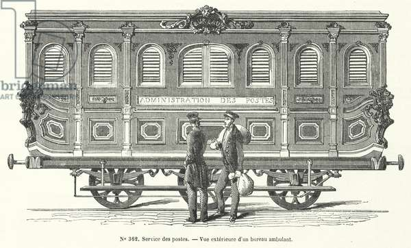 Mail carriage on the French railways (engraving)