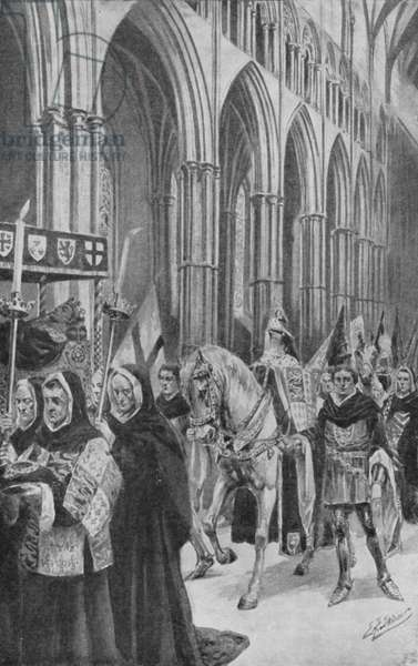 The steeds of King Henry V follow his coffin up the nave (litho)