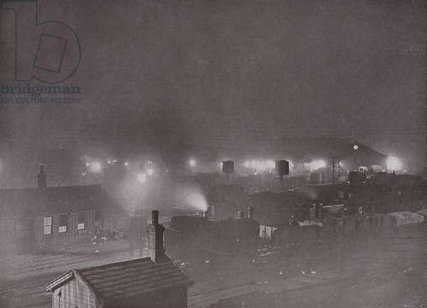 King's Cross Goods Yard at Night (b/w photo)