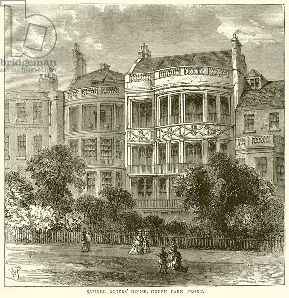 Samuel Rogers' House, Green Park Front (engraving)