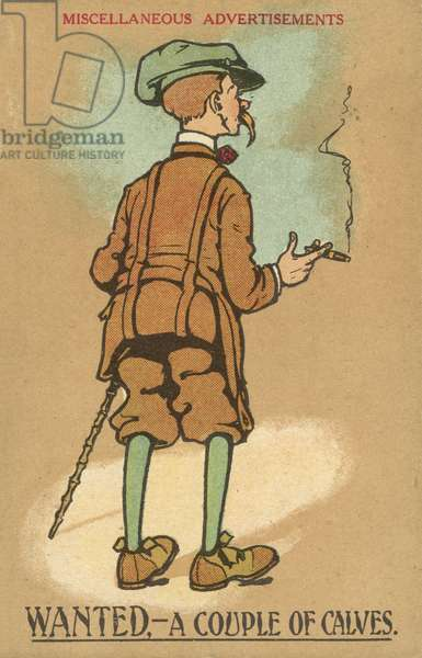 Man with skinny legs wearing a pair of plus fours (colour litho)