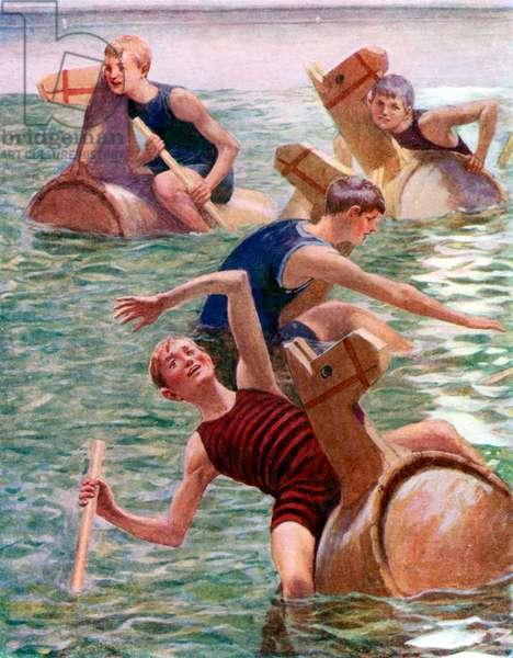 The hobby-horse race (colour litho)