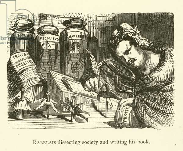 Rabelais dissecting society and writing his book (engraving)