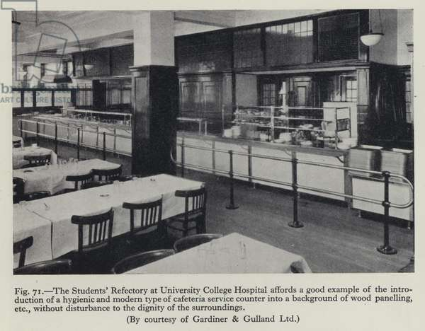 The Students' Refectory at University College Hospital affords a good example of the introduction of a hygienic and modern type of cafeteria service counter into a background of wood panelling, etc, without disturbance to the dignity of the surroundings (b/w photo)