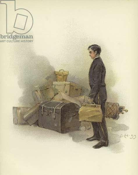 Luggage boy at Claridge's Hotel, London (colour litho)