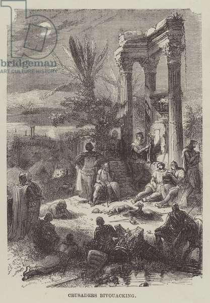 Crusaders bivouacking (engraving)