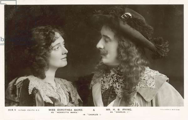 Dorothea Bird and H B Irving in costume for a production of Charles I (b/w photo)