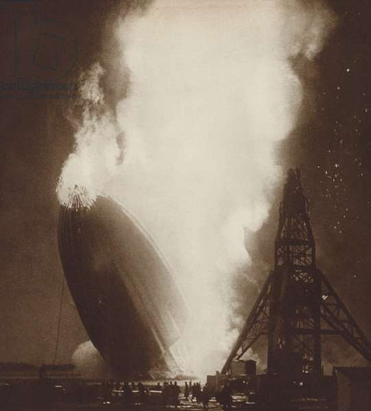 The Hindenburg airship disaster, Lakehurst, New Jersey, 1937 (b/w photo)