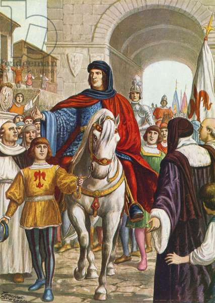 Lorenzo de' Medici, having made peace with the King of Naples, being received in Florence in 1480