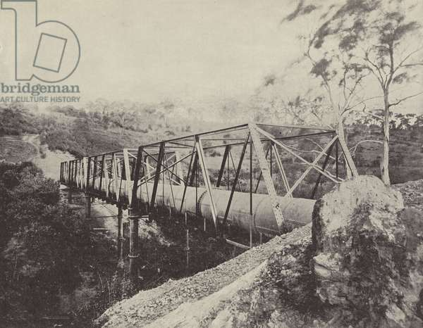 Melbourne Water Supply Pipes, over the Plenty River, Greensborough (b/w photo)