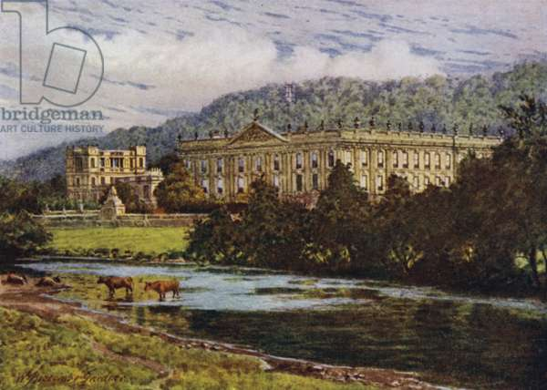 Chatsworth from the Derwent (colour litho)