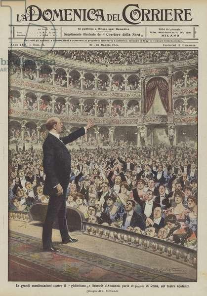 Le grandi manifestazioni contro il giolittismo, Gabriele d'Annunzio parla al popolo di Roma, nel teatro Costanzi (colour litho)