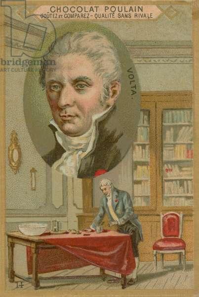 Alessandro Volta, Chocolat Poulain trade card (colour litho)