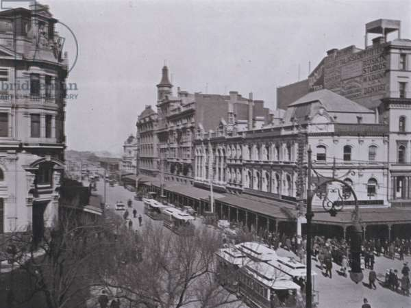 Swanston Street, Melbourne, looking South (b/w photo)