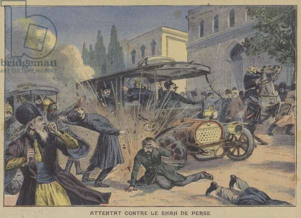 Assassination attempt against the Shah of Persia (colour litho)