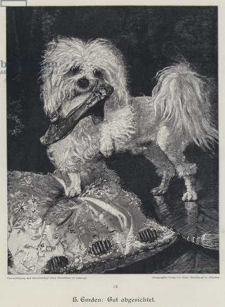 Well-trained. Dog with a woman's shoe in its mouth (engraving)