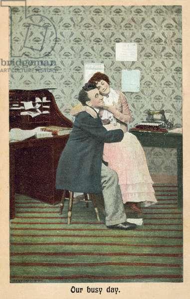 Boss with his secretary (colour photo)