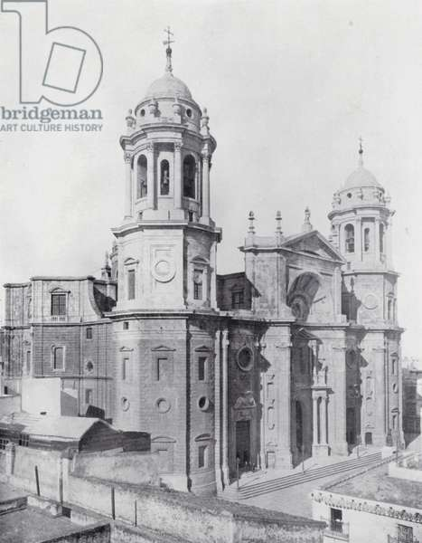 View of the Cathedral, Cadiz (b/w photo)