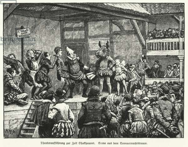 Performance of William Shakespeare's play A Midsummer Night's Dream during the playwright's lifetime (litho)