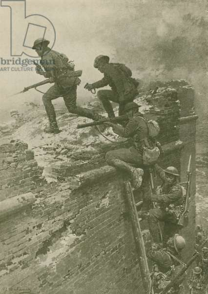 The storming of Le Quesnoy by New Zealand troops, World War I (b/w photo)