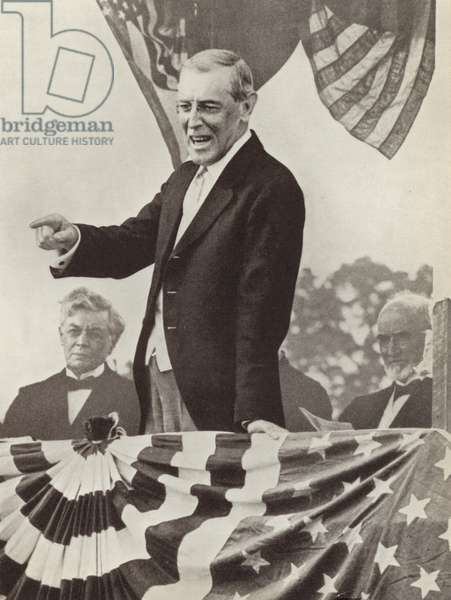 US President Woodrow Wilson, the driving force behind the establishment of the League of Nations, who nevertheless failed to persuade his country to join the organisation (b/w photo)