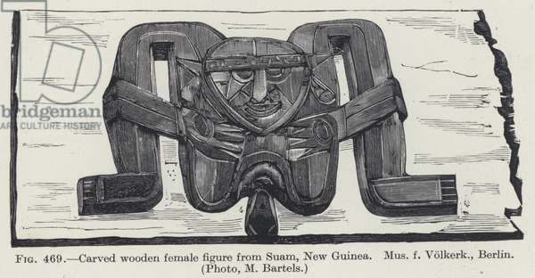 Carved wooden female figure from Suam, New Guinea (litho)