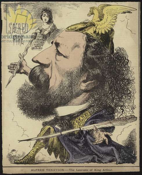 Alfred Tennyson - the Laureate of King Arthur (coloured engraving)