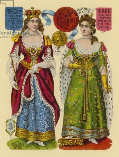 Victorian scrap: Queen Mary, Queen Anne