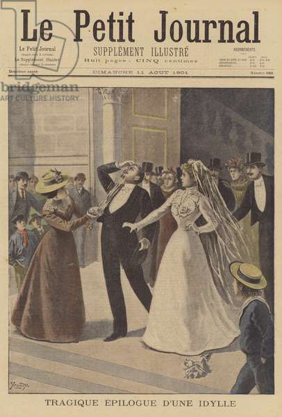 A tragic ending to a wedding (colour litho)
