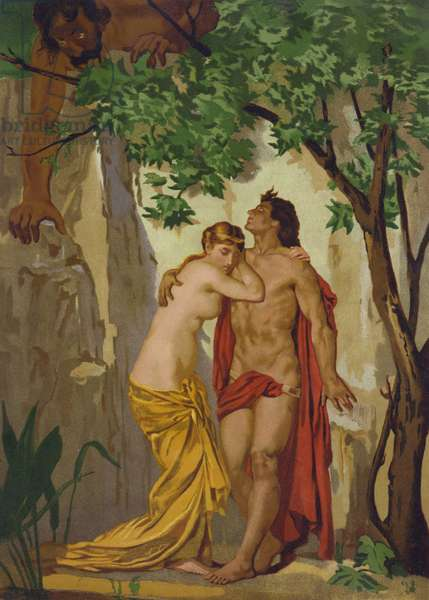 Galatea and Acis surprised by the giant Polyphemus (chromolitho)