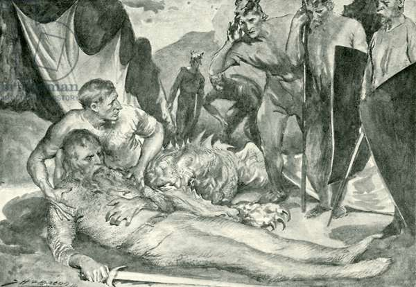 The death of Beowulf (litho)