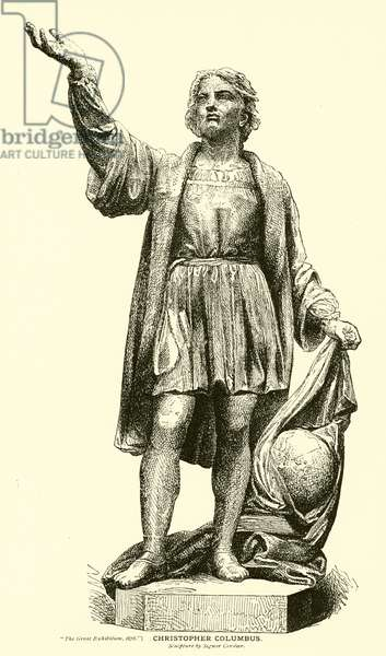 Christopher Columbus, Sculpture by Signor Cordier (engraving)