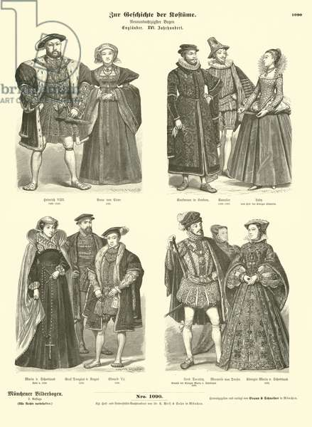 Costumes of English and Scottish royalty and nobility, 16th Century (engraving)