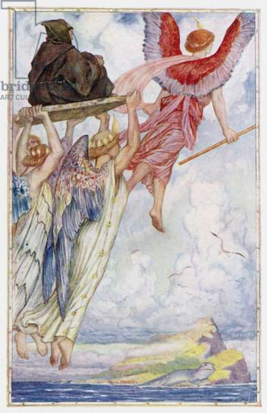 """""""Raphael and the Angels carry St Senan to the Island"""" (colour litho)"""