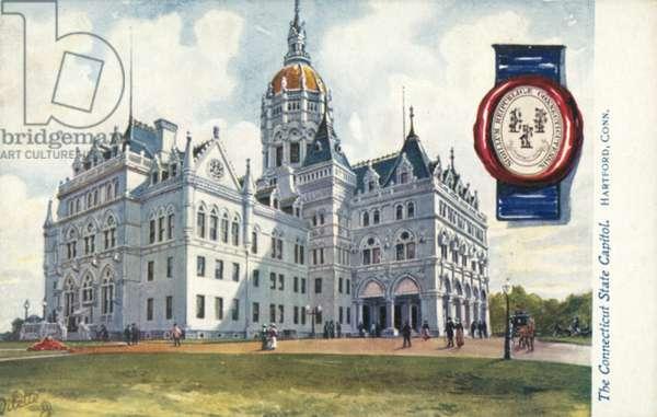 The Connecticut State Capitol, Hartford, Connecticut (colour litho)
