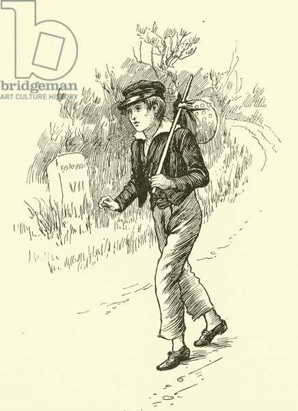 Oliver Twist, on this way to London (engraving)