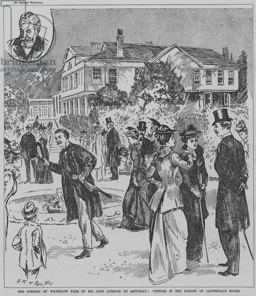Visitors in the gardens of Lauderdale House at the opening of Waterlow Park, London, given to the public by Sir Sydney Waterlow, 1891 (engraving)