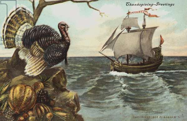 Thanksgiving greetings card (colour litho)