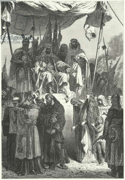 Saladin watching captured Christians pass by after his capture of Jerusalem, 1187 (engraving)