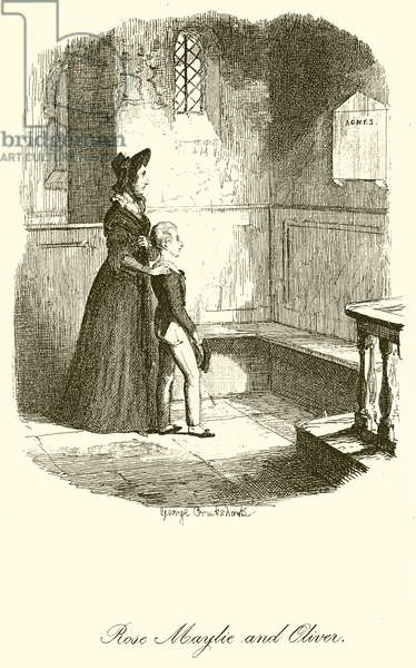 Rose Maylie and Oliver (engraving)