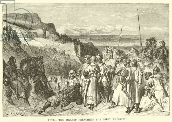 Peter the Hermit preaching the First Crusade (engraving)