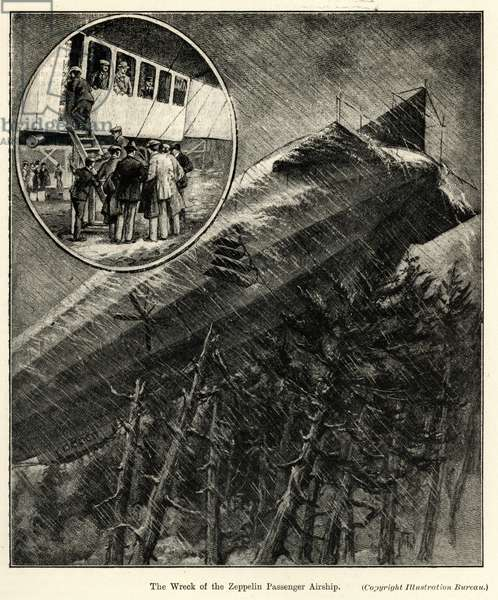 The Wreck of the Zeppelin Passenger Airship (litho)