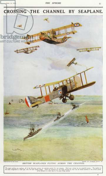 British seaplanes flying across the English Channel (colour litho)